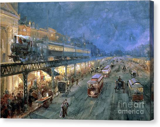 Trains Canvas Print - The Bowery At Night by William Sonntag