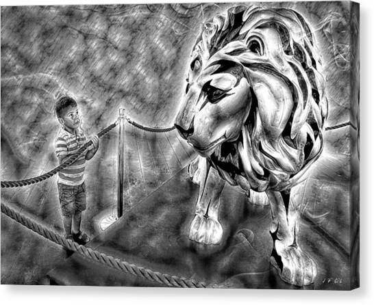 The Boy And The Lion 18 Canvas Print