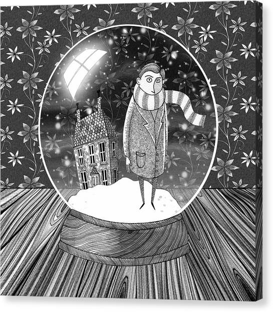 Snowflakes Canvas Print - The Boy In The Snow Globe  by Andrew Hitchen