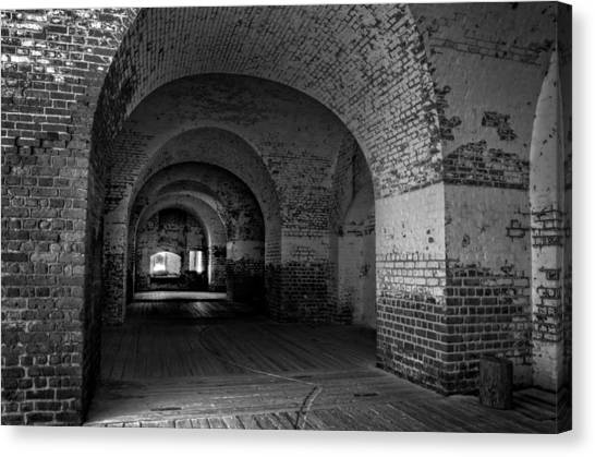 The Bricks Of Fort Pulaski In Black And White Canvas Print