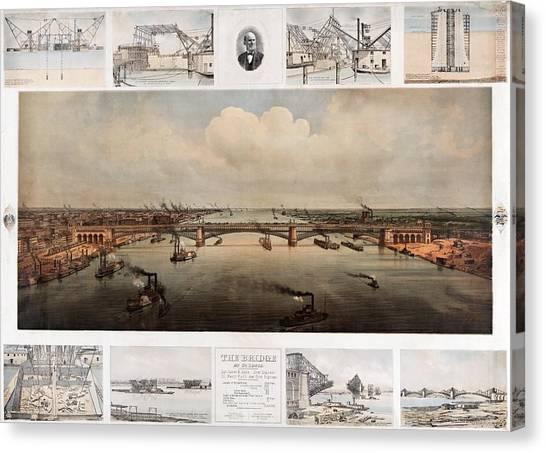 The Bridge At St. Louis, Missouri, Ca. 1874 Canvas Print