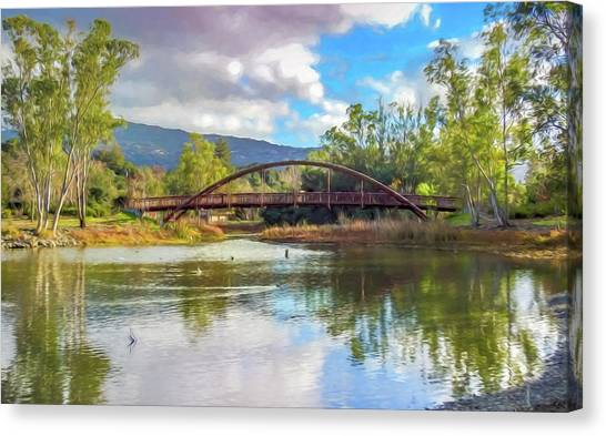 The Bridge At Vasona Lake Digital Art Canvas Print