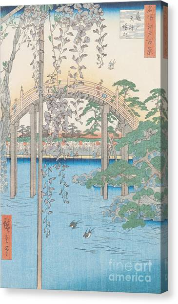 Swallows Canvas Print - The Bridge With Wisteria by Hiroshige
