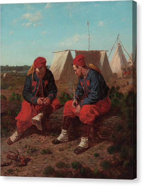 Army Of The Potomac Canvas Print - The Brierwood Pipe by Winslow Homer