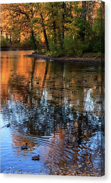 The Bright Colors Of Autumn, Quiet Evenings Are Reflected In The Waters Of The City Pond Canvas Print