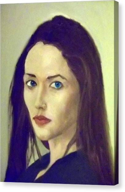 The Brunette With Blue Eyes Canvas Print