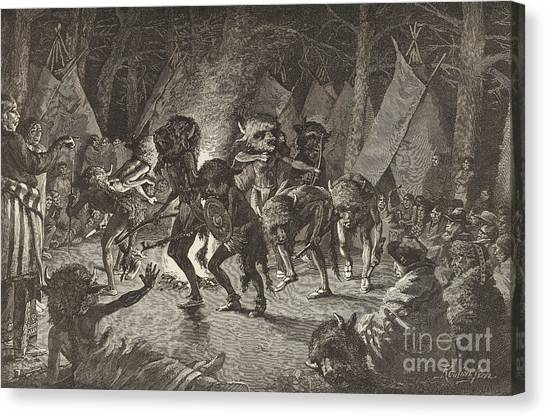 Teepee Canvas Print - The Buffalo Dance by Frederic Remington