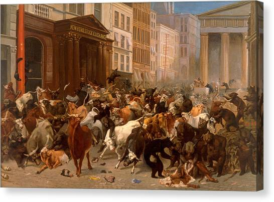 Canvas Print featuring the painting The Bulls And Bears In The Market by William Holbrook Beard