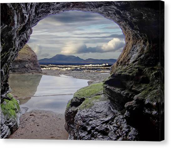 The Bundoran Cave And Donegal Hills Canvas Print
