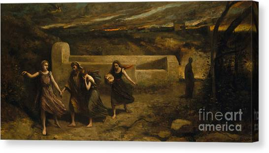 Torah Canvas Print - The Burning Of Sodom, 1857 by Jean Baptiste Camille Corot