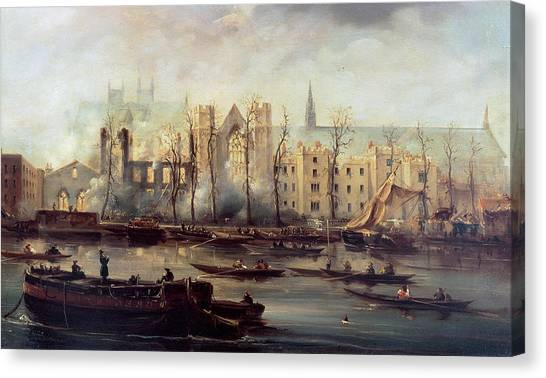 Man Of The House Canvas Print - The Burning Of The Houses Of Parliament by The Burning of the Houses of Parliament
