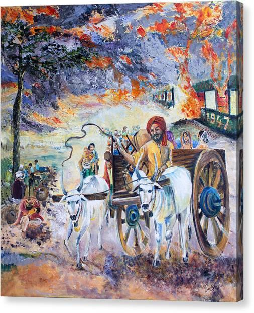 Sikh Art Canvas Print - The Burning Punjab-1947 by Sarabjit Singh