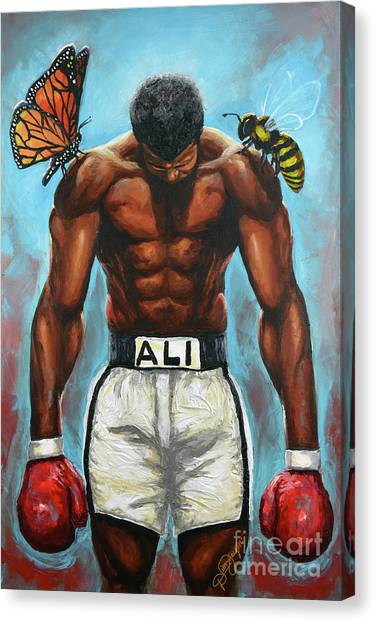 Muhammad Ali Canvas Print - The Butterflies And The Bees by The Art of DionJa'Y