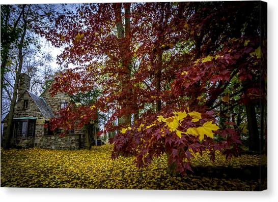 The Cabin In Autumn Canvas Print
