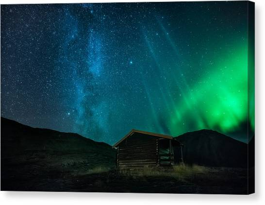 Aurora Borealis Canvas Print - The Cabin by Tor-Ivar Naess