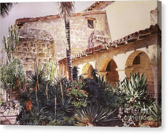 Missions California Canvas Print - The Cactus Courtyard - Mission Santa Barbara by David Lloyd Glover