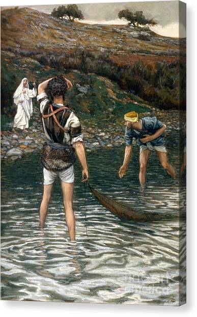 Brooklyn Nets Canvas Print - The Calling Of Saint Peter And Saint Andrew by Tissot