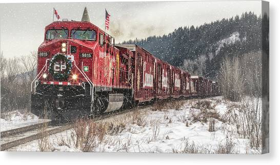 Canvas Print featuring the photograph The Canadian Pacific Holiday Train by Brad Allen Fine Art