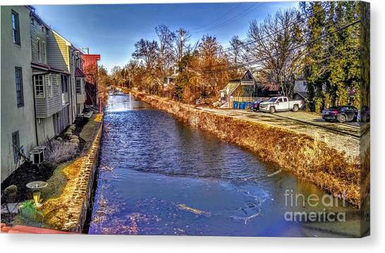 The Canal At New Hope In Winter Canvas Print