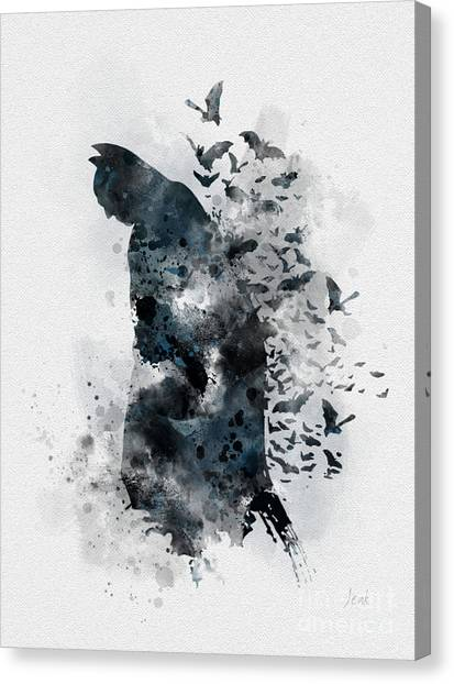 Bat Canvas Print - The Caped Crusader by Rebecca Jenkins
