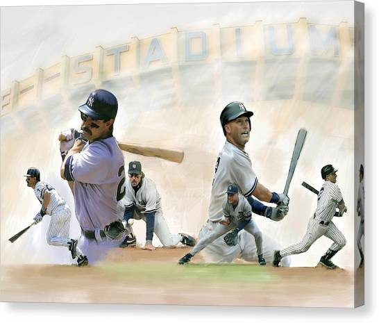 Derek Jeter Canvas Print - The Captains II Don Mattingly And Derek Jeter by Iconic Images Art Gallery David Pucciarelli