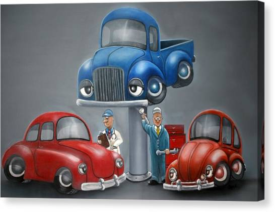 The Car Hospital Canvas Print by Ofelia  Arreola