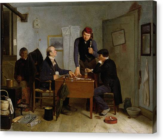 Pontoon Canvas Print - The Card Players by  Richard Caton Woodville