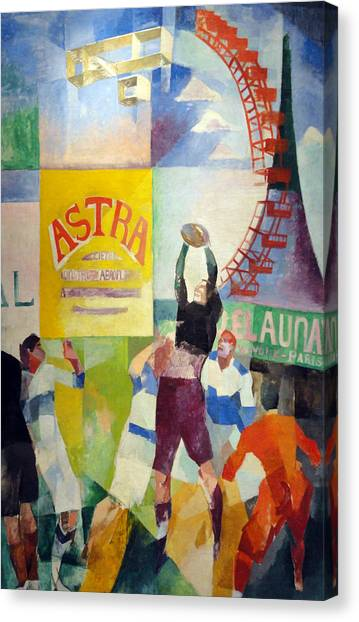 Divisionism Canvas Print - The Cardiff Team by Robert Delaunay
