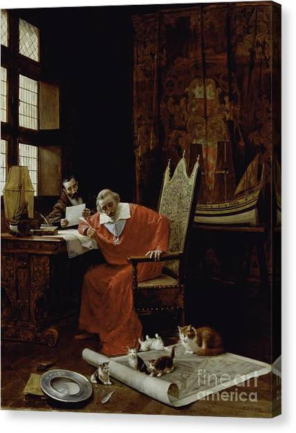 Priests Canvas Print - The Cardinal's Leisure  by Charles Edouard Delort