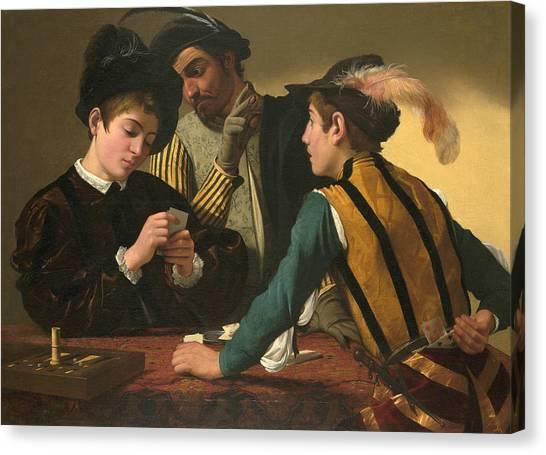 Baroque Art Canvas Print - The Cardsharps  by Caravaggio