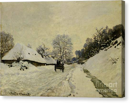 Carts Canvas Print - The Cart by Claude Monet