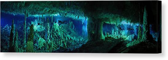 Underwater Caves Canvas Print - The Cascade Room Leads Divers Deeper by Wes C. Skiles