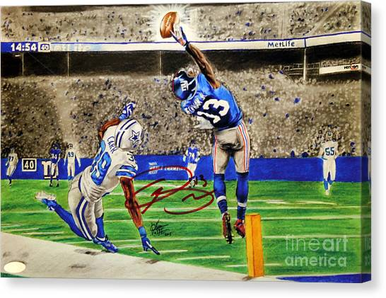 Odell Beckham Jr Canvas Print - The Catch - Signed Reprint by Chris Volpe