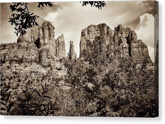 Cathedral Rock Canvas Print - The Cathedral - Sedona Arizona - Red Rock Crossing - Sepia by Gregory Ballos