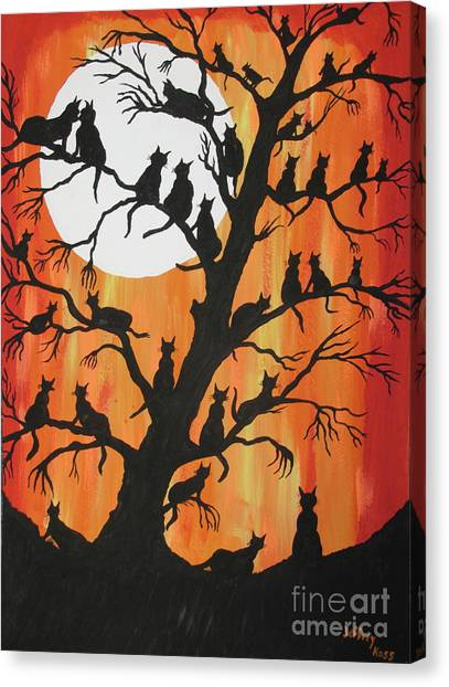 The Cats On Night Watch Canvas Print