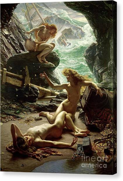 Nudes Canvas Print - The Cave Of The Storm Nymphs by Sir Edward John Poynter