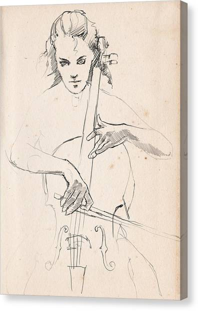 Cellos Canvas Print - The Cellist  by H James Hoff
