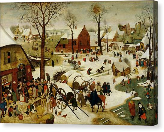 Skating Canvas Print - The Census At Bethlehem by Pieter the Younger Brueghel