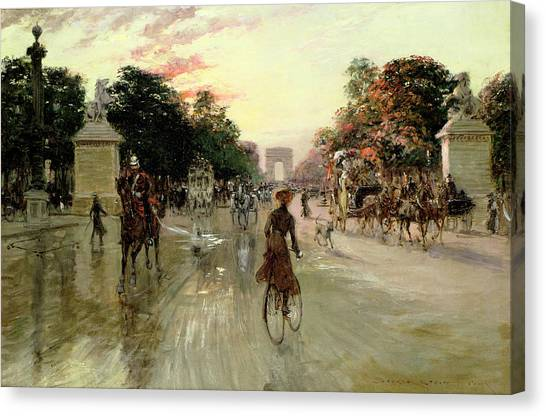 Carriage Canvas Print - The Champs Elysees - Paris by Georges Stein