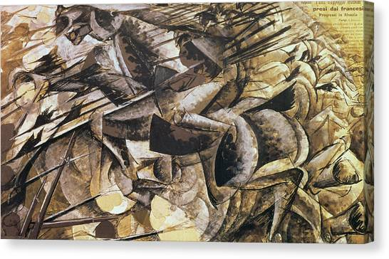 Futurism Canvas Print - The Charge Of The Lancers by Umberto Boccioni