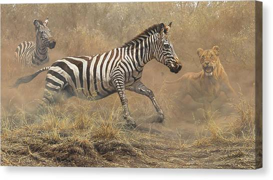 Canvas Print featuring the painting The Chase by Alan M Hunt