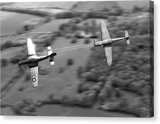 Luftwaffe Canvas Print - The Chase - Bw by Mark Donoghue