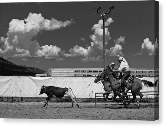 Cowboy Canvas Print - The Chase For Time by Scott Sawyer
