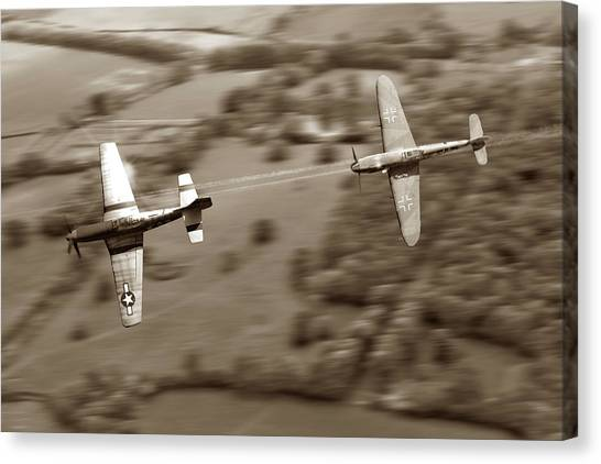Luftwaffe Canvas Print - The Chase - Sepia by Mark Donoghue