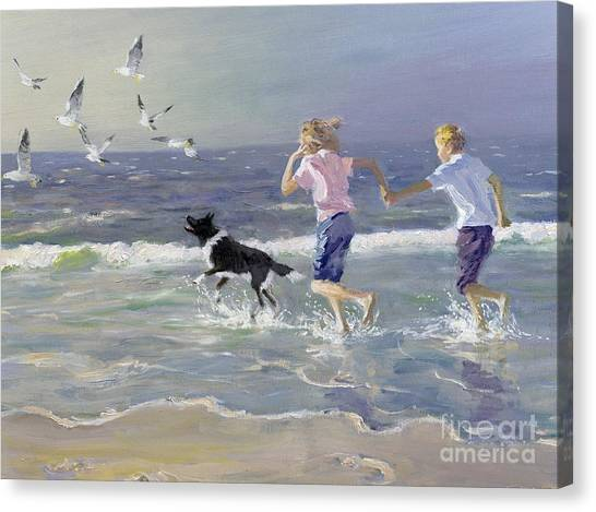 Seagulls Canvas Print - The Chase by William Ireland