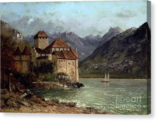 Swiss Canvas Print - The Chateau De Chillon by Gustave Courbet