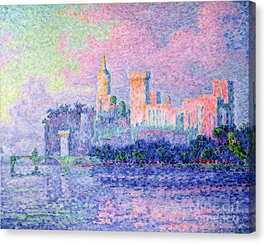 Pointillism Canvas Print - The Chateau Des Papes by Paul Signac