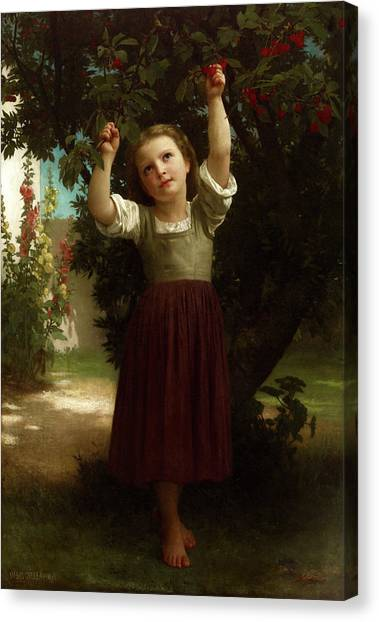 Academic Art Canvas Print - The Cherry Picker by Adolphe William Bouguereau