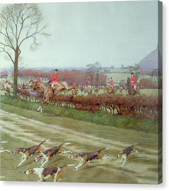 Dog Running Canvas Print - The Cheshire Away From Tattenhall by Cecil Charles Windsor Aldin