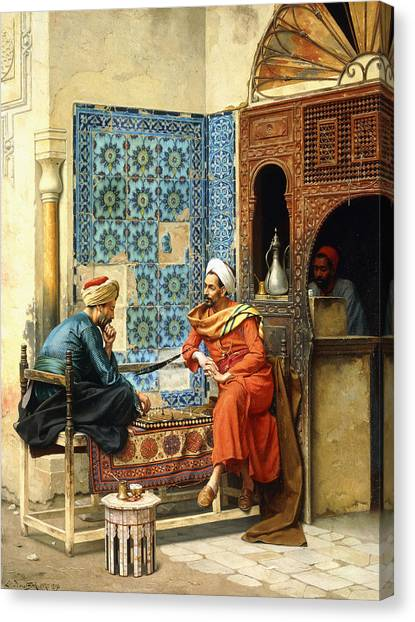 Muslim Canvas Print - The Chess Game by Ludwig Deutsch